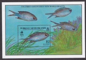 Turks & Caicos Islands # 845, Fish Blue Chromis, Souvenir Sheet,  NH, 1/2 Cat.