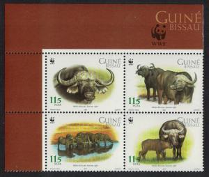 Guinea-Bissau WWF African Buffalo 4v in block 2*2 Logo SG#1351-1354 MI#2009-2012