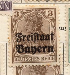 Bavaria 1919 Early Issue Fine Mint Hinged 3pf. Optd 233981