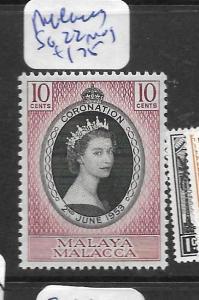 MALAYA MALACCA (P1201B) QEII CORONATION SG 22  MOG