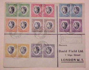 SOUTH WEST AFRICA  FDC 1937 PAIR STAMPS 8 DIFF.