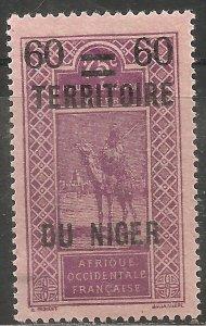Niger Stamp - Scott #25/A1 Surcharged 60c on 75c Violet, pinkish OG Mint/LH 1922