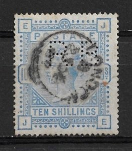 1884 Great Britain 109 10sh Victoria with RB perfin used