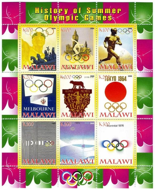 Malawi 2008 History of Summer Olympic Games (9) Perf.mnh.vf