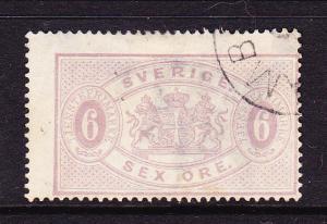 SWEDEN  1874-77  6ore ARMS OFFICIAL   P14  FU   Sc O4