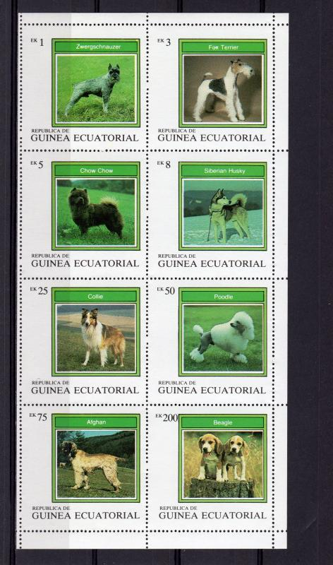 Equatorial Guinea 1977 DOGS Sheetlet (8) Perforated MNH VF