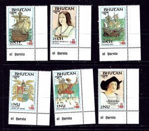 Bhutan 584-89 MNH 1987 Discovery of America Anniv