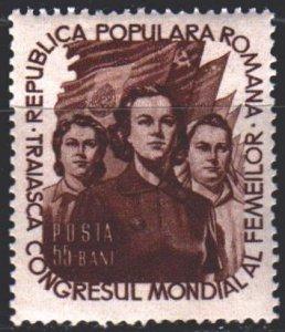 Romania. 1953. 1429 from the series. Women's Congress in Copenhagen. MLH.