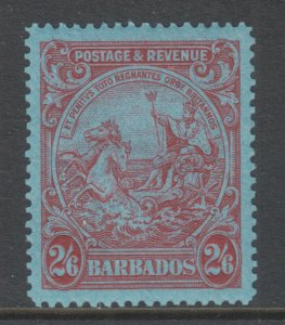 Barbados Sc 178 MLH. 1932 2/6p carmine on blue Coat of Arms, gum crease, o/w VF