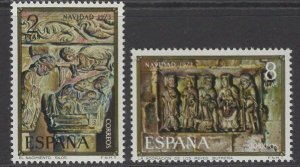 SPAIN SG2220/1 1973 CHRISTMAS MNH