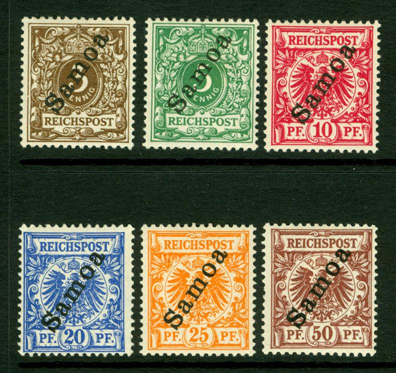 German Colonies - SAMOA 1900  SURCHARGED set  Sc# 51-56  mint MH