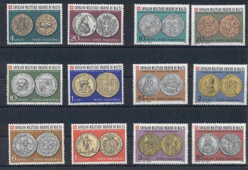 Coins on Stamps Sovereign Order of Malta 12 MNH stamps set