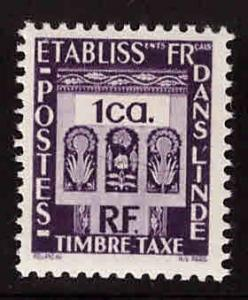 FRENCH INDIA  Scott J19 MH* Postage Due with similar centering