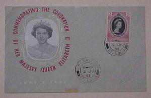 ST. LUCIA FDC QUEEN ELIZABETH II CORONATION 1953  CACHET ADDRESSED