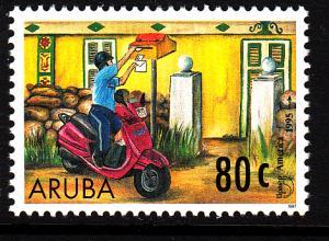 Aruba MNH Scott #146 80c Mailman delivering mail on motor scooter