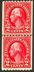 U.S. #606 MINT LINE PAIR OG NH