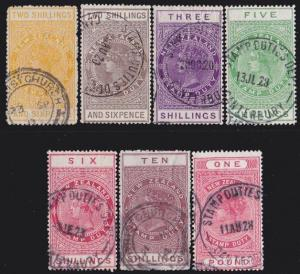 NEW ZEALAND 1880 Stamp Duty 7 values 2/6 to £1 used.........................4740