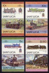St. Lucia MNH 774-7 Pairs Locomotives SCV 2.35