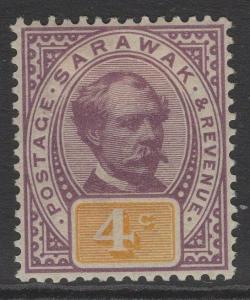 SARAWAK SG11 1888 4c PURPLE & YELLOW MTD MINT