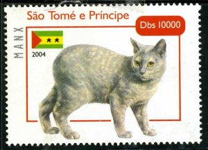 Sao Tome & Principe 2004 DOMESTIC CAT Manx 1value Perforated Mint (NH)