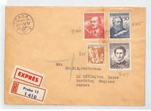 BU85 1955 Czechoslovakia POETS COMMUNISM Prague EXPRESS Airmail Cover PTS
