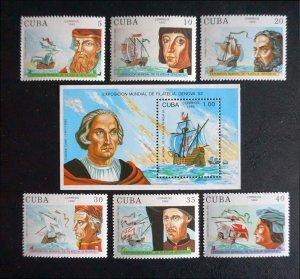 CUBA Sc# 3441-3447 DISCOVERY OF AMERICA  Cpl set of 6 + Souvenir Sheet 1992 MNH