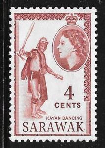 Sarawak 199: 4c Kayan dancing, MH, F-VF