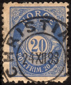 1895, Norway 20ö, Posthorn, Used, Nice CDS, Sc 53a