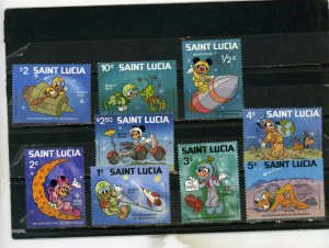 St.LUCIA 1980 WALT DISNEY SPACE SCENES SET OF 9 STAMPS MNH