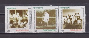 BANGLADESH - 2011 INDIPEX-2011 / MAHATMA GANDHI - SE-TENANT 3V STRIP MINT NH