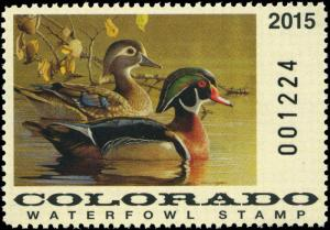 COLORADO  #26 2015  STATE DUCK STAMP WOOD DUCKS