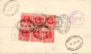 Nigeria 1d KGV (6) 1928 Registered Lagos, Nigeria to East Palestine, Ohio.  R...