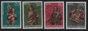 LIECHTENSTEIN, 632-635, (4) SET, MNH, 1977 Sculptures, Christmas type