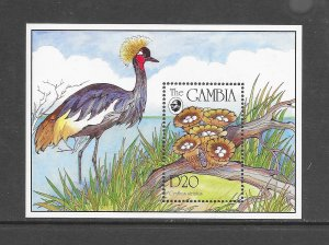 BIRDS - GAMBIA #1589  BIRD & MUSHROOMS  MNH