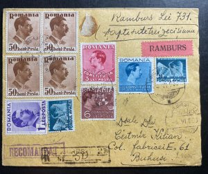 1938 Bucarest Romania Commercial Registered Cover To Buhusi M Martin