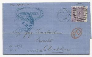 GREAT BRITAIN Scott #51 Pl#8 Margin Copy to Austria Cover 1869 London