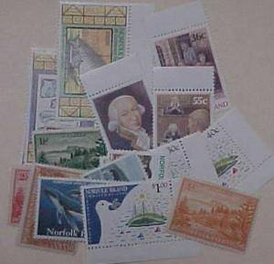 NORFOLK ISLAND 21 DIFF. STAMPS  MOSTLY MINT NEVER HINGED