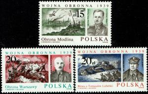 Poland Scott 2864-66 (SW 3162-64) MNH (1988) World War II