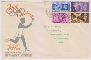 GB 1948 OLYMPIC ISSUE Sc 271-274 ON FD COVER WEMBLEY DECO CANCEL TO ESSEX F,VF