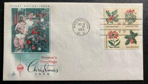1964 Washington USA First day Cover FDC Season Greetings Sc#1257