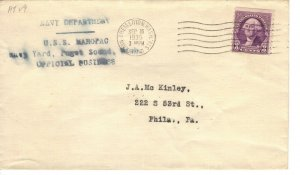 USS MAHOPAC AT-29 1935 Naval Cover Navy Department Official Postings F