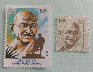 India Mint 2 different Gandhi Stamps