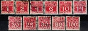 Austria #J34-44 Used  CV $13.75  (X1196)