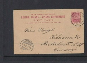 BRITISH GUIANA POSTAL STATIONARY 2C FROM BR GUIANA TO GERMANY