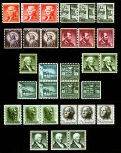 #1054c-1059a 1954-80 perf 10 Assorted Coil Lot Mint & Mint Never Hinged 20 items