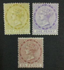 MOMEN: DOMINICA SG #13-15 1883-6 CROWN CA MINT OG H/1NG(1d) £207 LOT #62130