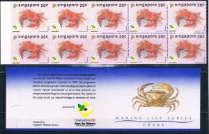 Singapore 637a MNH Booklet Mosaic crab 1992 (S1146)+