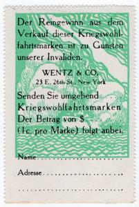 (I.B) US Cinderella : German War Charity 1c (1914) German Coupon