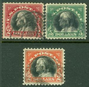EDW1949SELL : USA 1918-20 Sc #523-24, 547 VF-XF, Used Scarce this nice Cat $305.