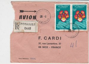 Rep Du Cameroun 1969 Regd Airmail Nkonosamba Cancels Flowers Stamps Cover R32539
